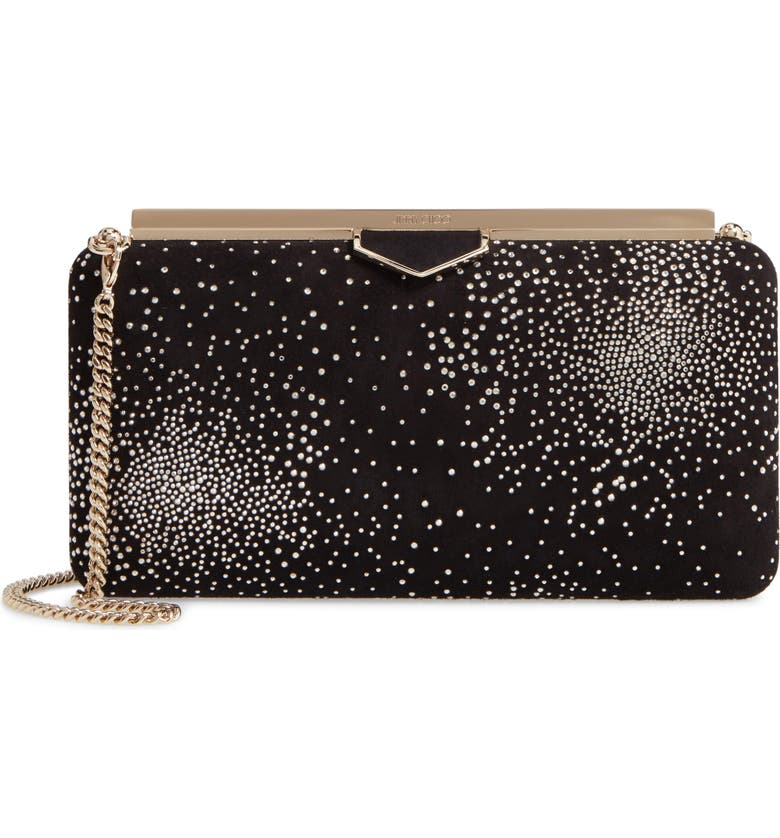 JIMMY CHOO Ellipse Constellation Embellished Clutch, Main, color, 001