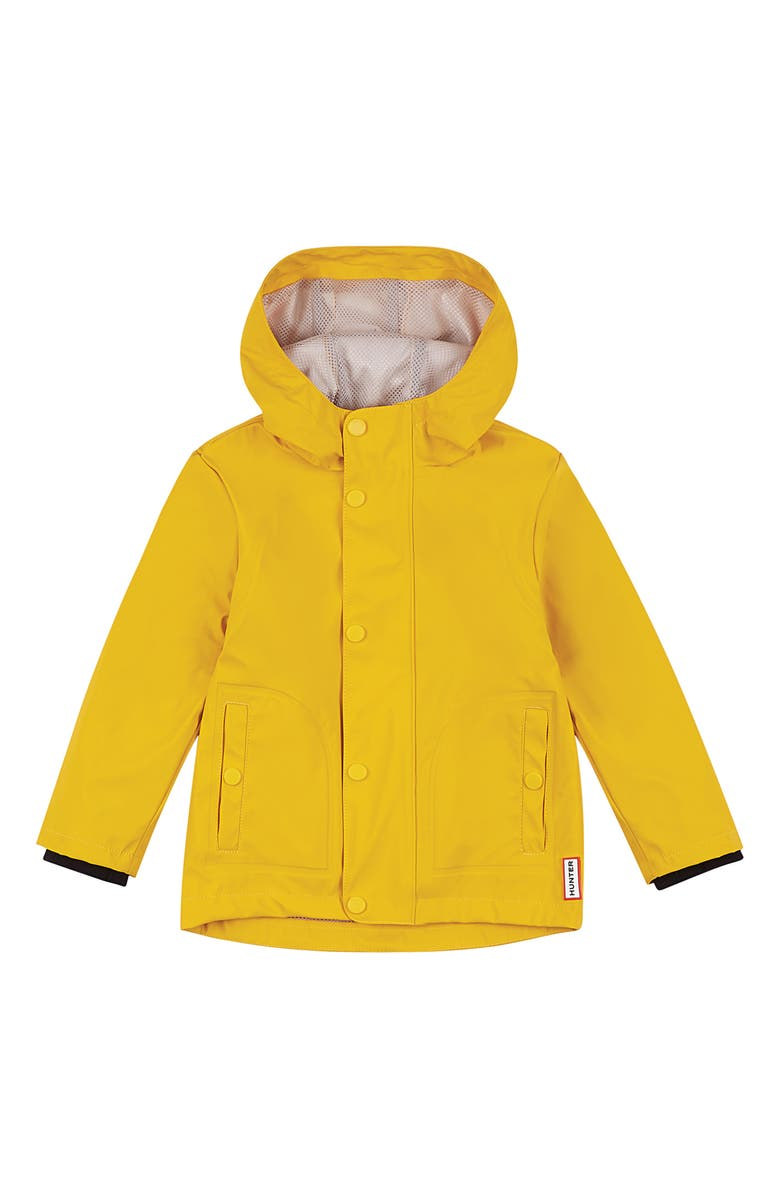 HUNTER Original Rubberized Waterproof Hooded Raincoat, Main, color, YELLOW