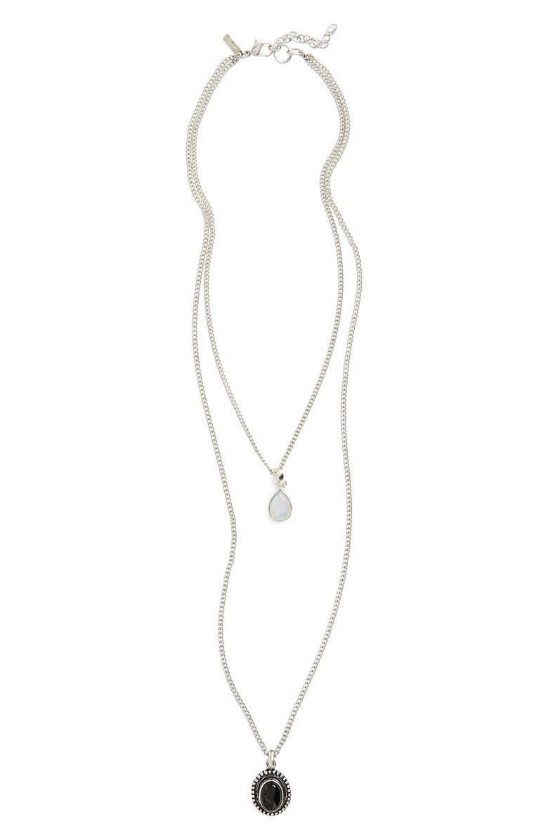 TOPSHOP Stone Pendant Two-Row Necklace, Main, color, 040