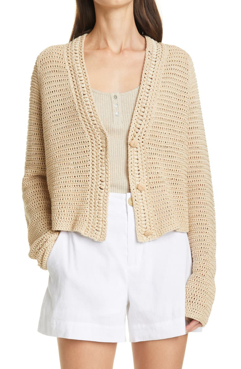 VINCE Crochet Cotton Cardigan, Main, color, STRAW