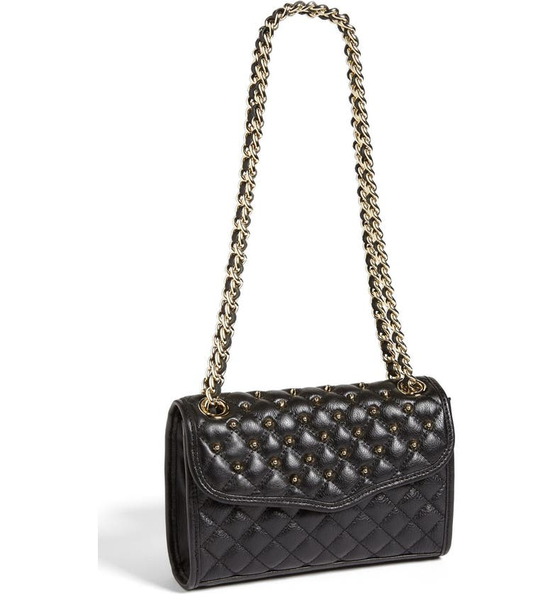 REBECCA MINKOFF 'Mini Quilted Affair with Studs' Shoulder Bag, Main, color, 001