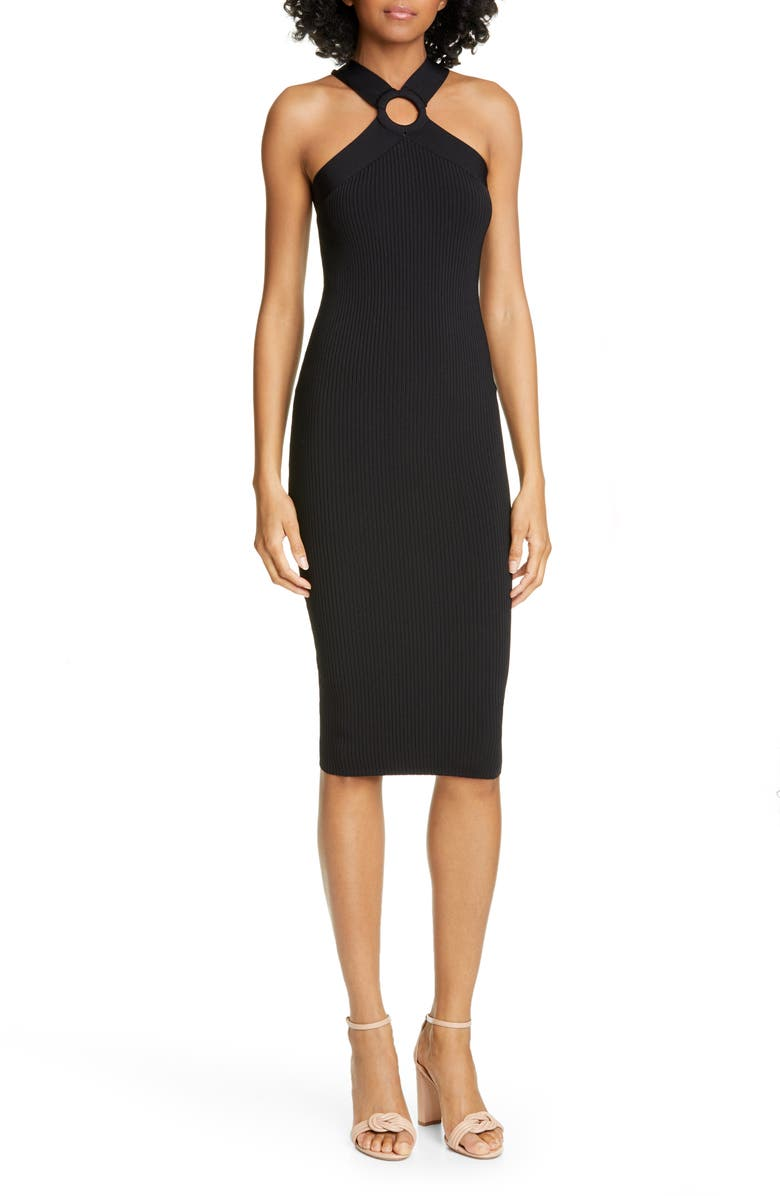 TED BAKER LONDON Sionna Ribbed Body-Con Sweater Dress, Main, color, 001