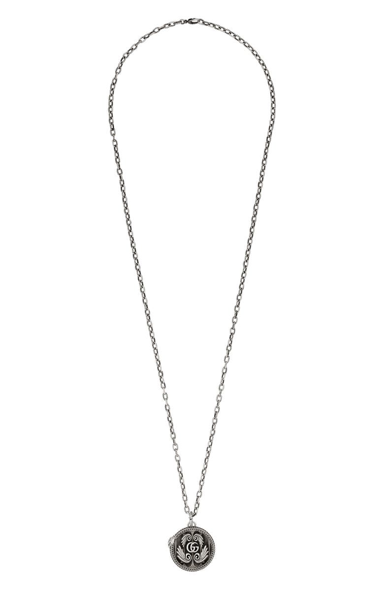 GUCCI Garden Double-G Logo Pendant Necklace, Main, color, 040