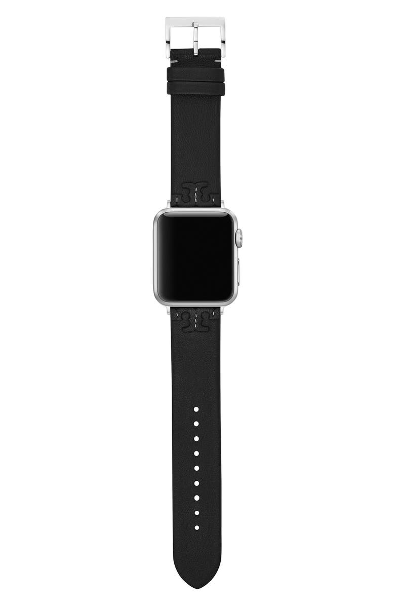 TORY BURCH McGraw Leather Strap for Apple Watch<sup>®</sup>, 38mm/40mm, Main, color, Black