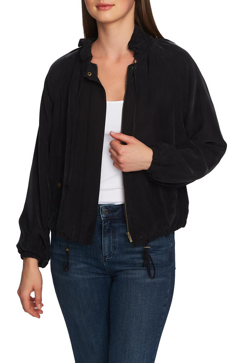 1.STATE Ruffle Neck Bomber Jacket, Main, color, 001
