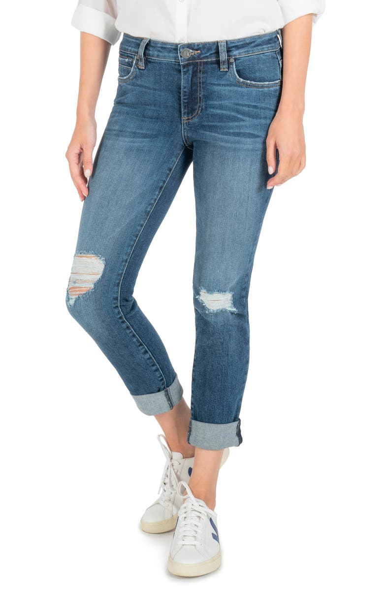 KUT FROM THE KLOTH Catherine Ripped High Waist Boyfriend Jeans, Main, color, LUCRATIVE