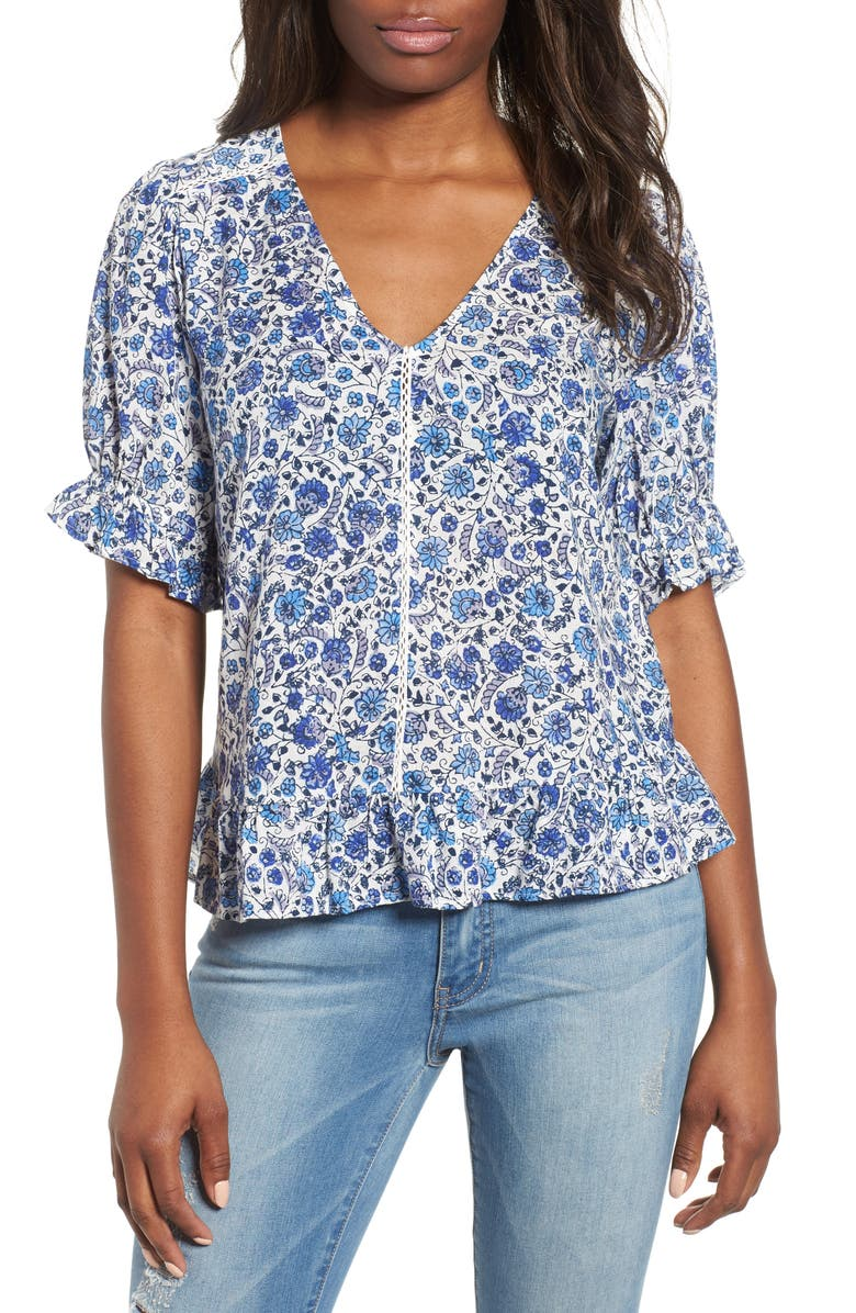 LUCKY BRAND Lucky Floral Print Top, Main, color, BLUE MULTI