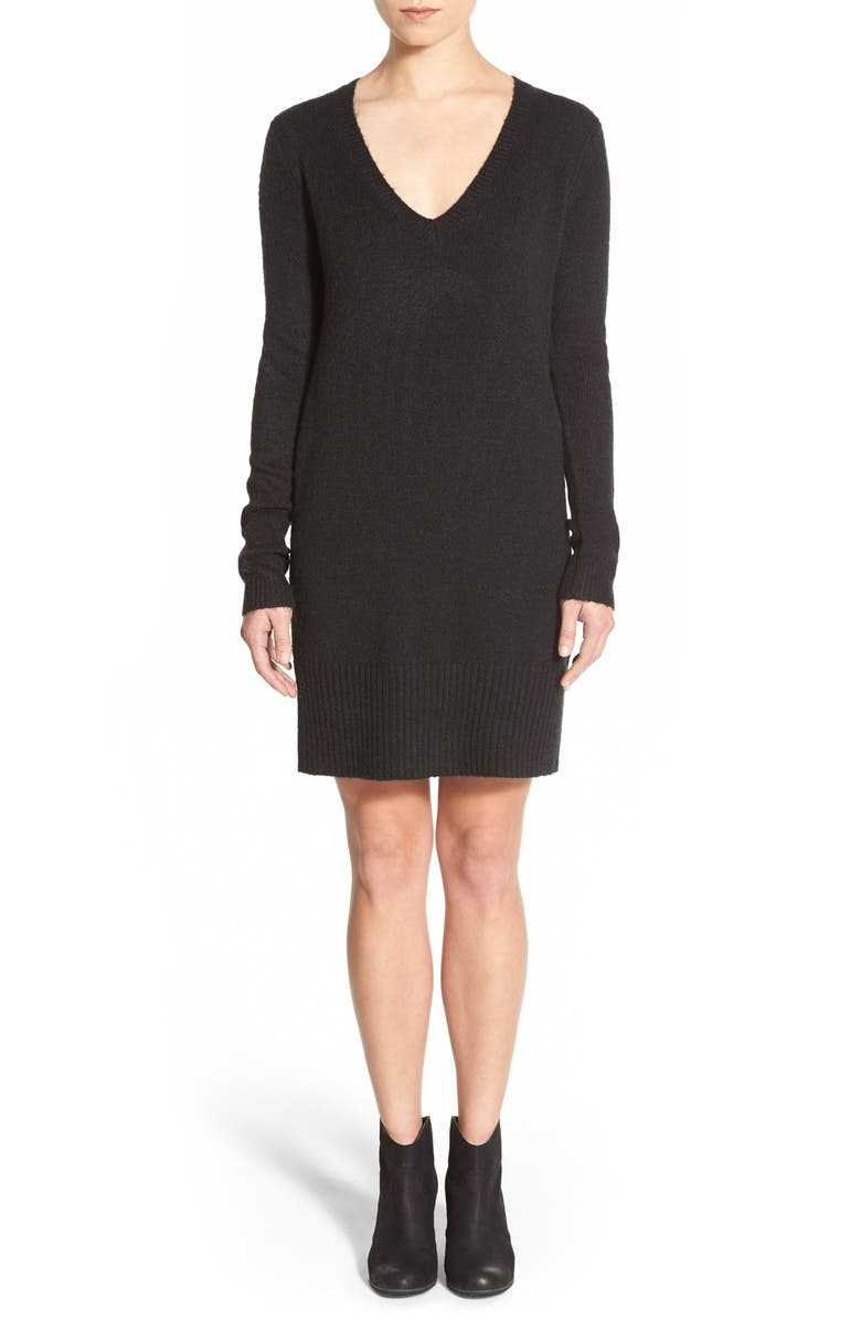 BP. Long Sleeve V-Neck Sweater Dress, Main, color, 001