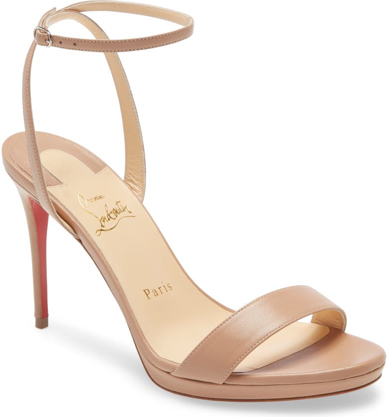 CHRISTIAN LOUBOUTIN Loubi Queen Ankle Strap Sandal, Main, color, NUDE NAPPA