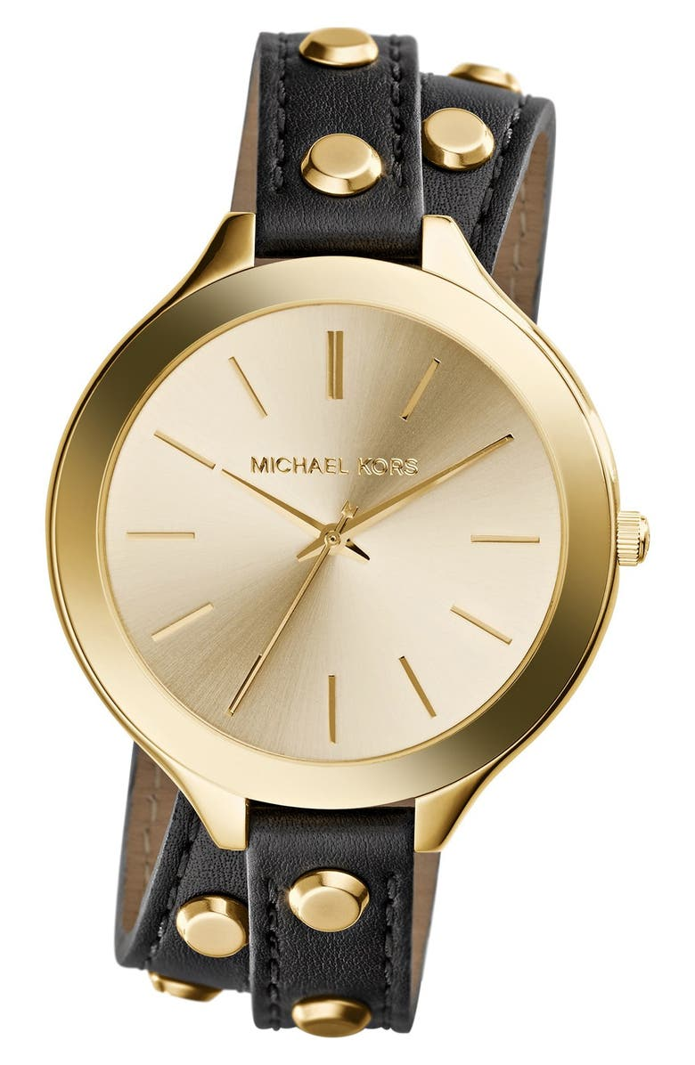 MICHAEL KORS 'Slim Runway' Double Wrap Leather Strap Watch, 42mm, Main, color, 001