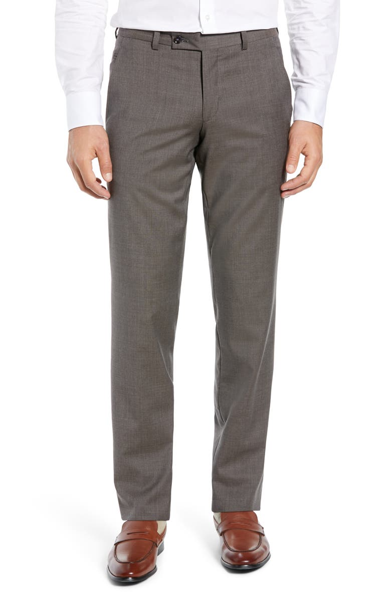 TED BAKER LONDON Jerome Flat Front Solid Wool Dress Pants, Main, color, Brown