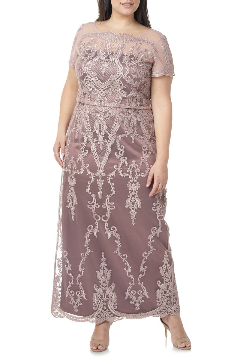 JS COLLECTIONS Scallop Embroidered Blouson Evening Dress, Main, color, BLUSH