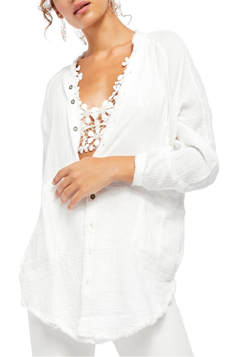 FREE PEOPLE Summer Daydream Button Shirt, Main, color, 100