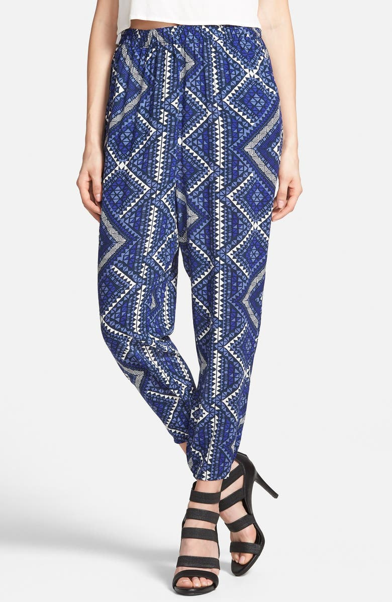 LEITH Crop Print Pants, Main, color, NAVY PEACOAT WORLDLY GRAPHIC