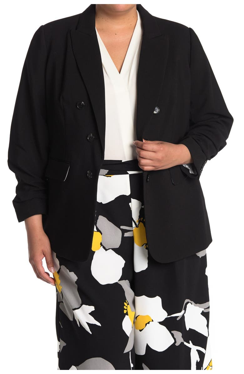 1.STATE Ruched Sleeve Crepe Blazer, Main, color, RICH BLACK