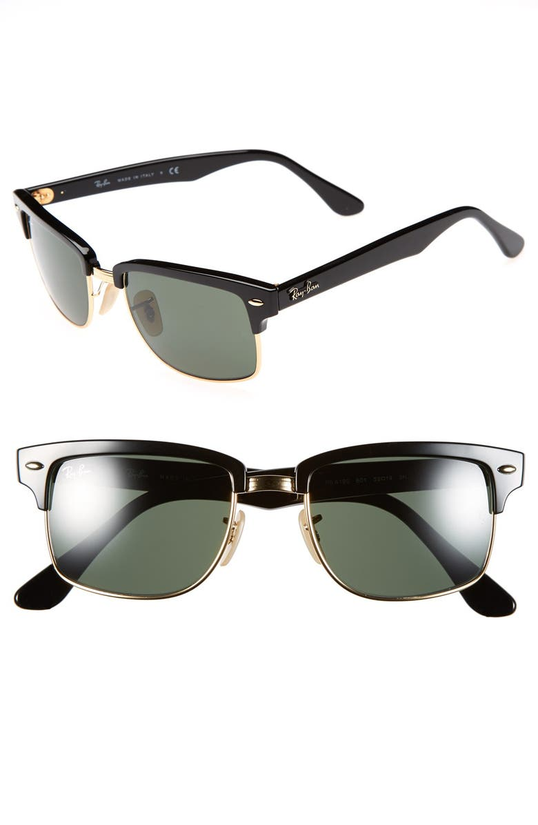 RAY-BAN 'Clubmaster' Square 52mm Sunglasses, Main, color, 001