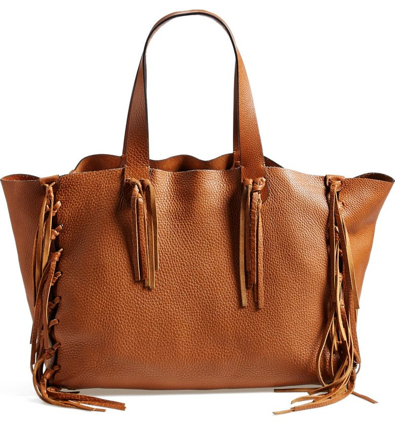 VALENTINO 'Crockee' Fringed Leather Tote, Main, color, LIGHT CUIR