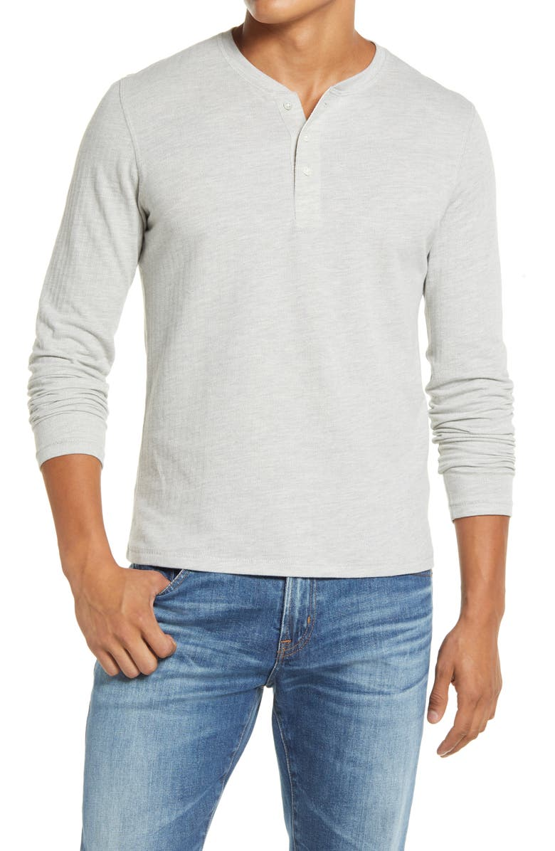 BILLY REID Herringbone Terry Long Sleeve Henley T-Shirt, Main, color, LIGHT GREY