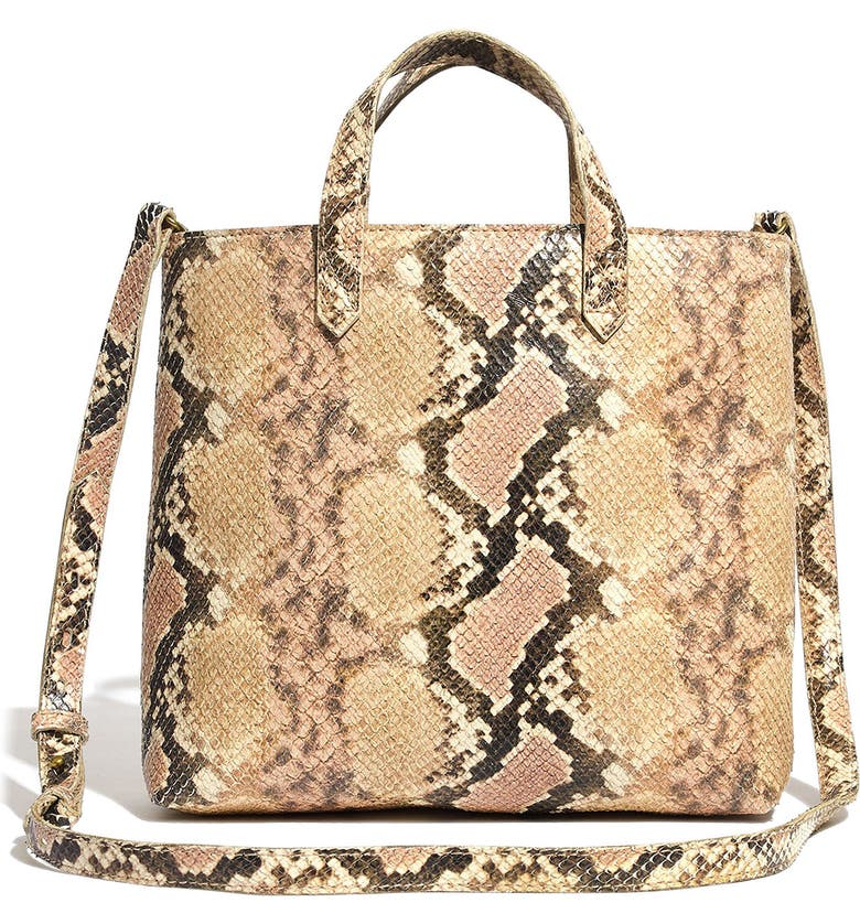MADEWELL The Zip-Top Transport Crossbody: Snake Embossed Leather Edition, Main, color, BLUSH MULTI