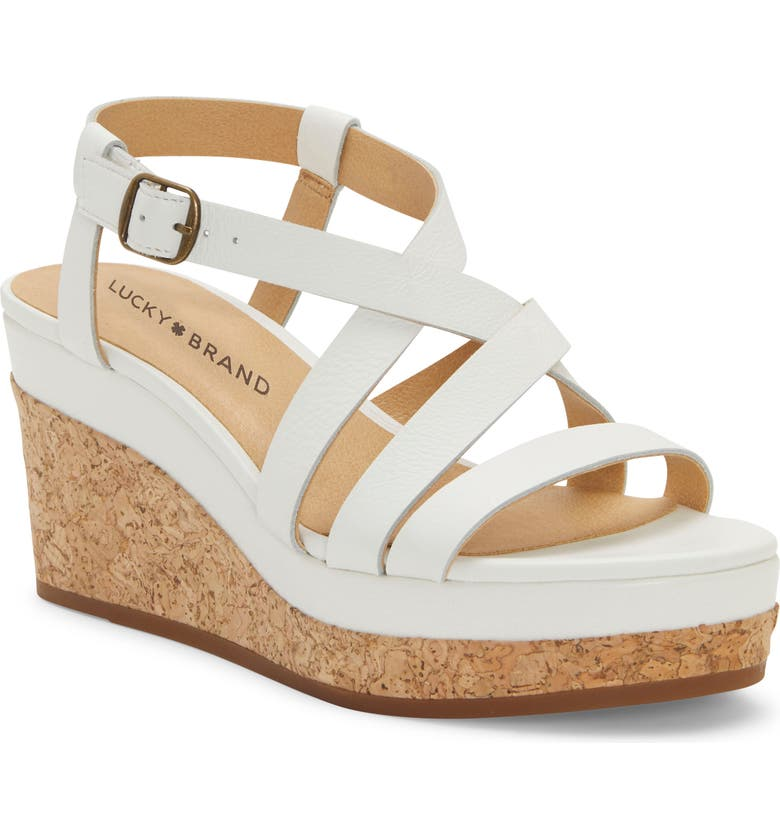 LUCKY BRAND Batikah Strappy Wedge Sandal, Main, color, ANGORA LEATHER
