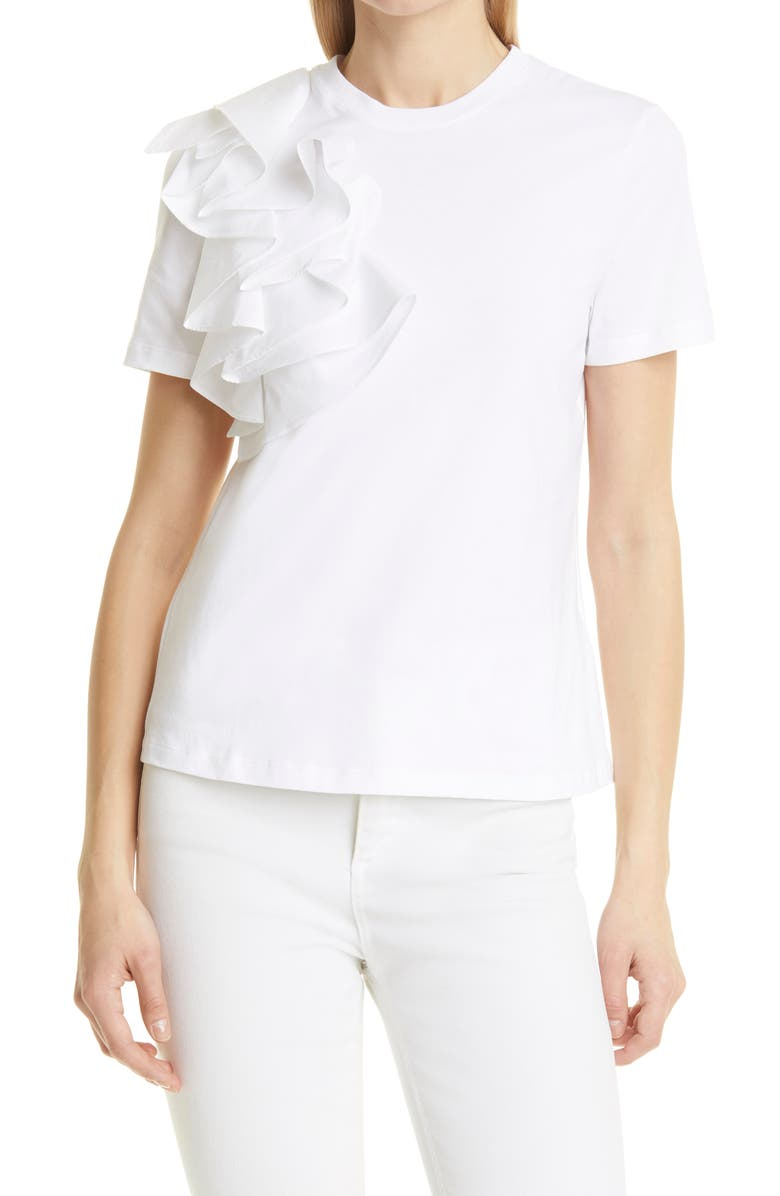 TED BAKER LONDON Frill Detail Relaxed Cotton Top, Main, color, 110