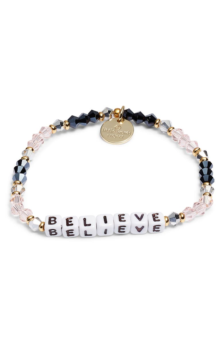 LITTLE WORDS PROJECT Believe Bracelet, Main, color, BELLE PINK/ WHITE
