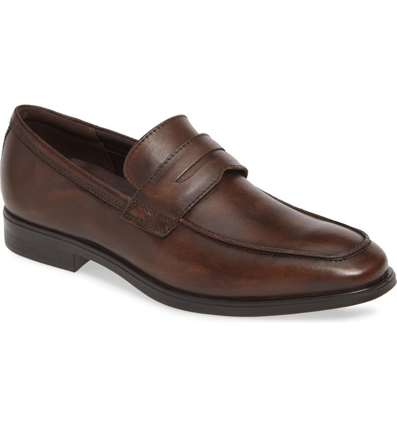 ECCO Melbourne Penny Loafer, Main, color, COCOA BROWN LEATHER