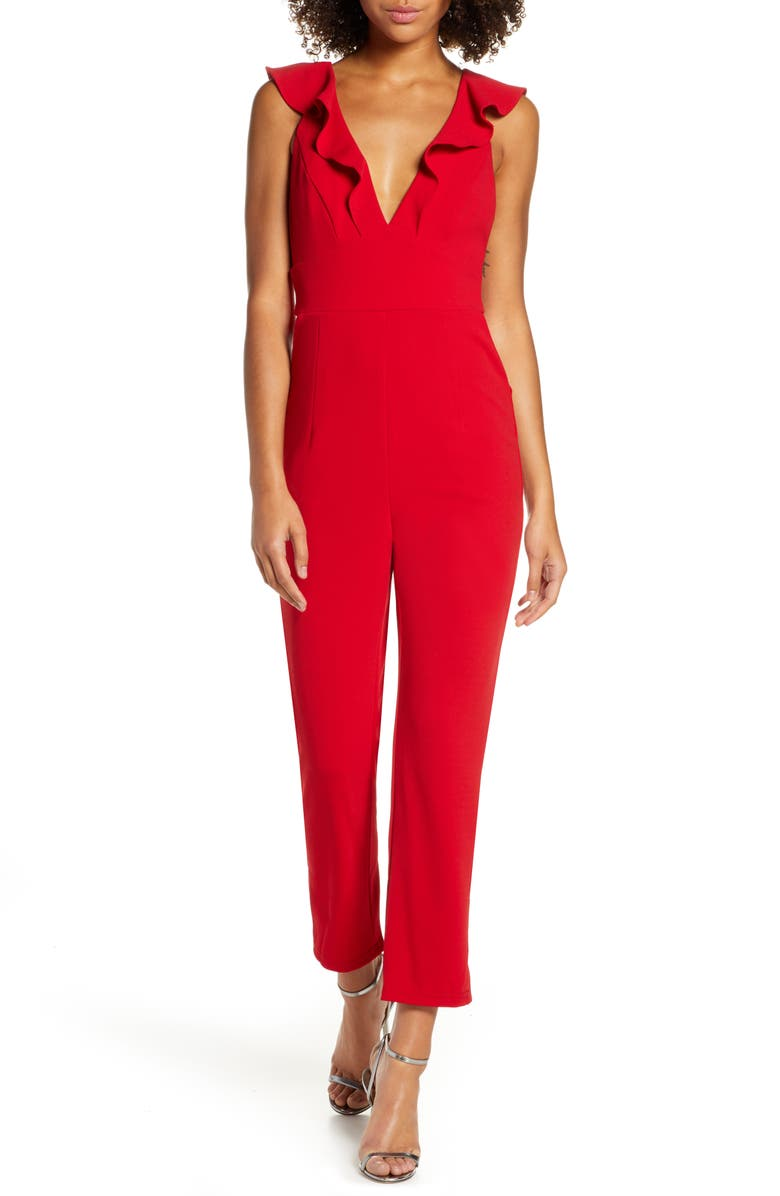 LULUS Leilani Ruffle Trim Jumpsuit, Main, color, RED