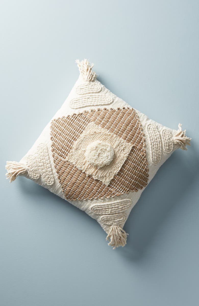 ANTHROPOLOGIE HOME Anthropologie Textured Nayeli Square Accent Pillow, Main, color, CREAM