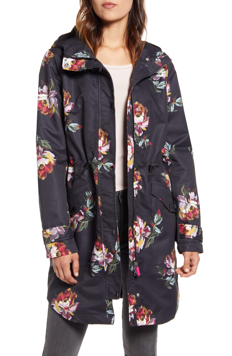 JOULES Right as Rain Packable Print Hooded Raincoat, Main, color, 002