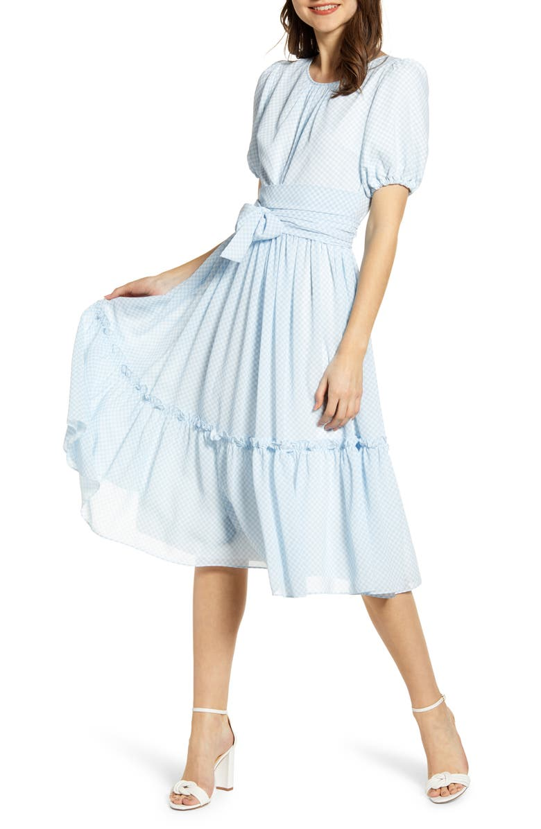 RACHEL PARCELL Gingham Puff Sleeve Dress, Main, color, 450