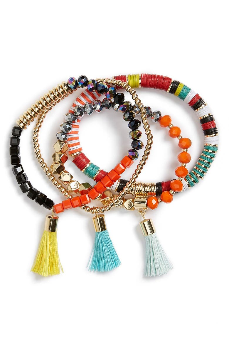 BAUBLEBAR 'Maldives' Beaded Stretch Bracelets, Main, color, 800
