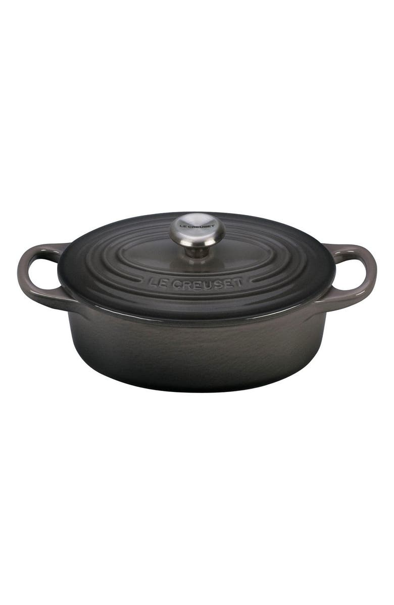 LE CREUSET Signature 1-Quart Oval Enamel Cast Iron French/Dutch Oven, Main, color, OYSTER