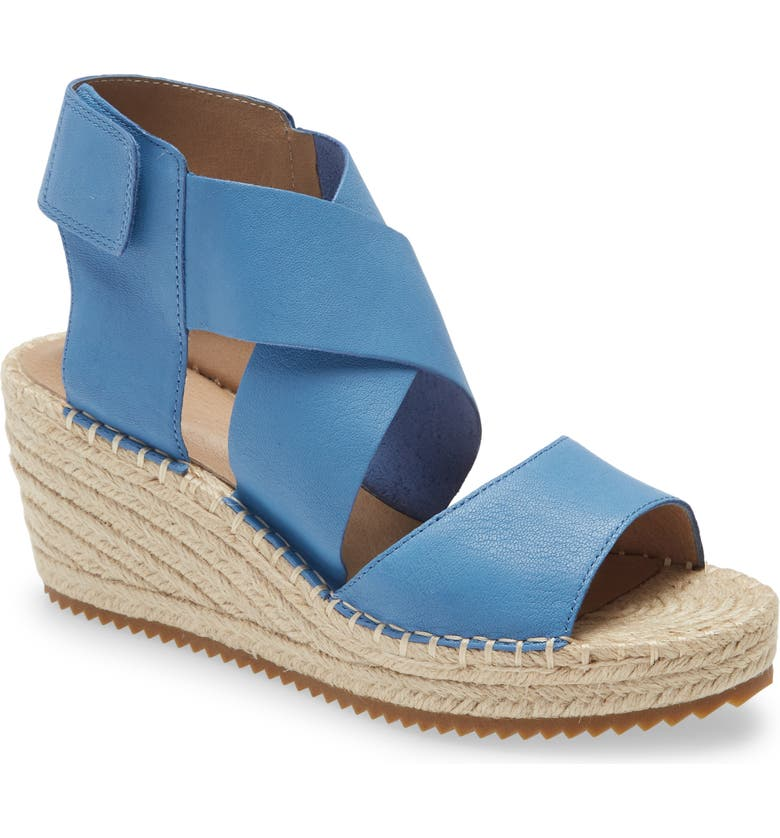EILEEN FISHER 'Willow' Espadrille Wedge Sandal, Main, color, BLUE LEATHER