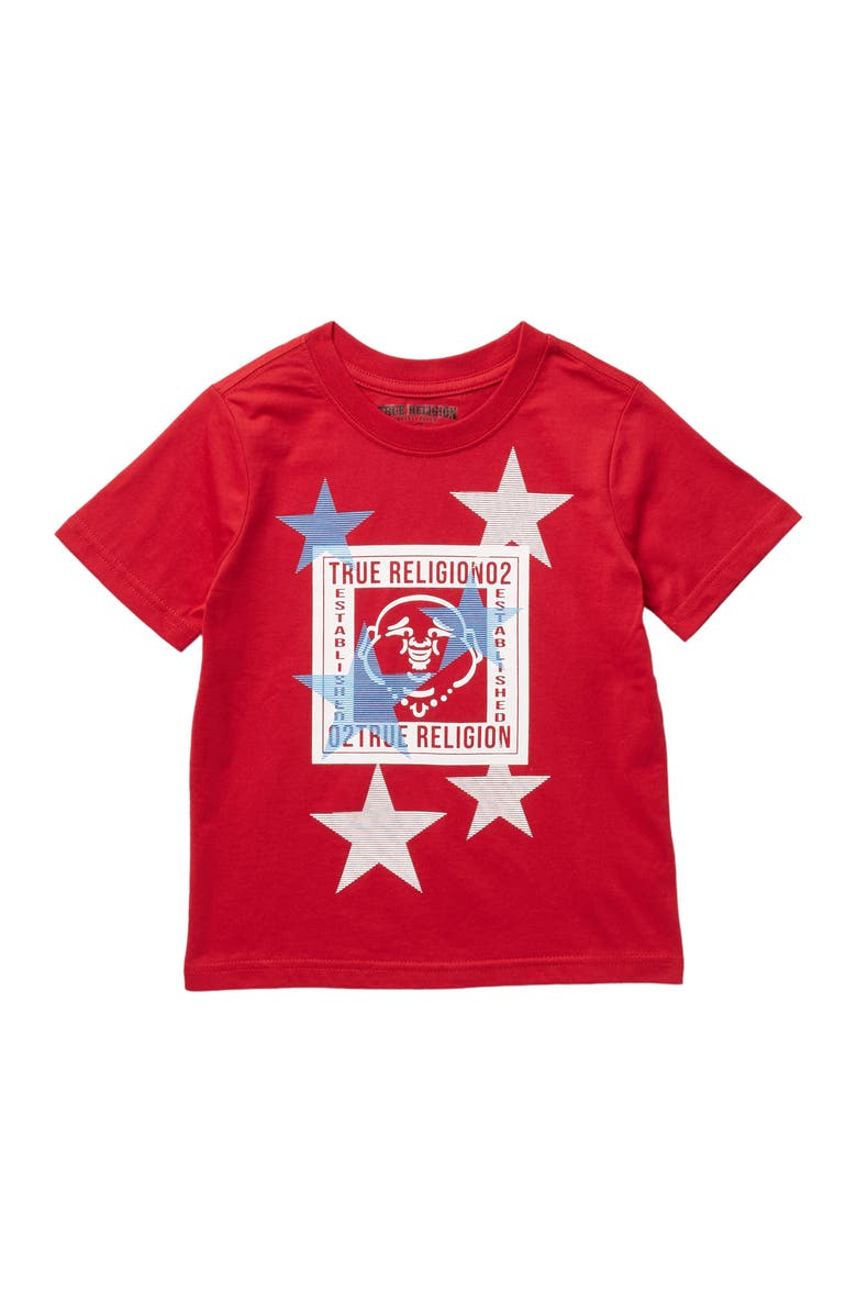 TRUE RELIGION Buddha Star Stamp T-Shirt, Main, color, RUBY RED