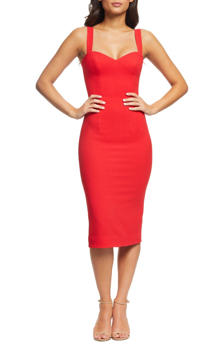 DRESS THE POPULATION Nicole Sweetheart Neck Cocktail Dress, Main, color, ROUGE