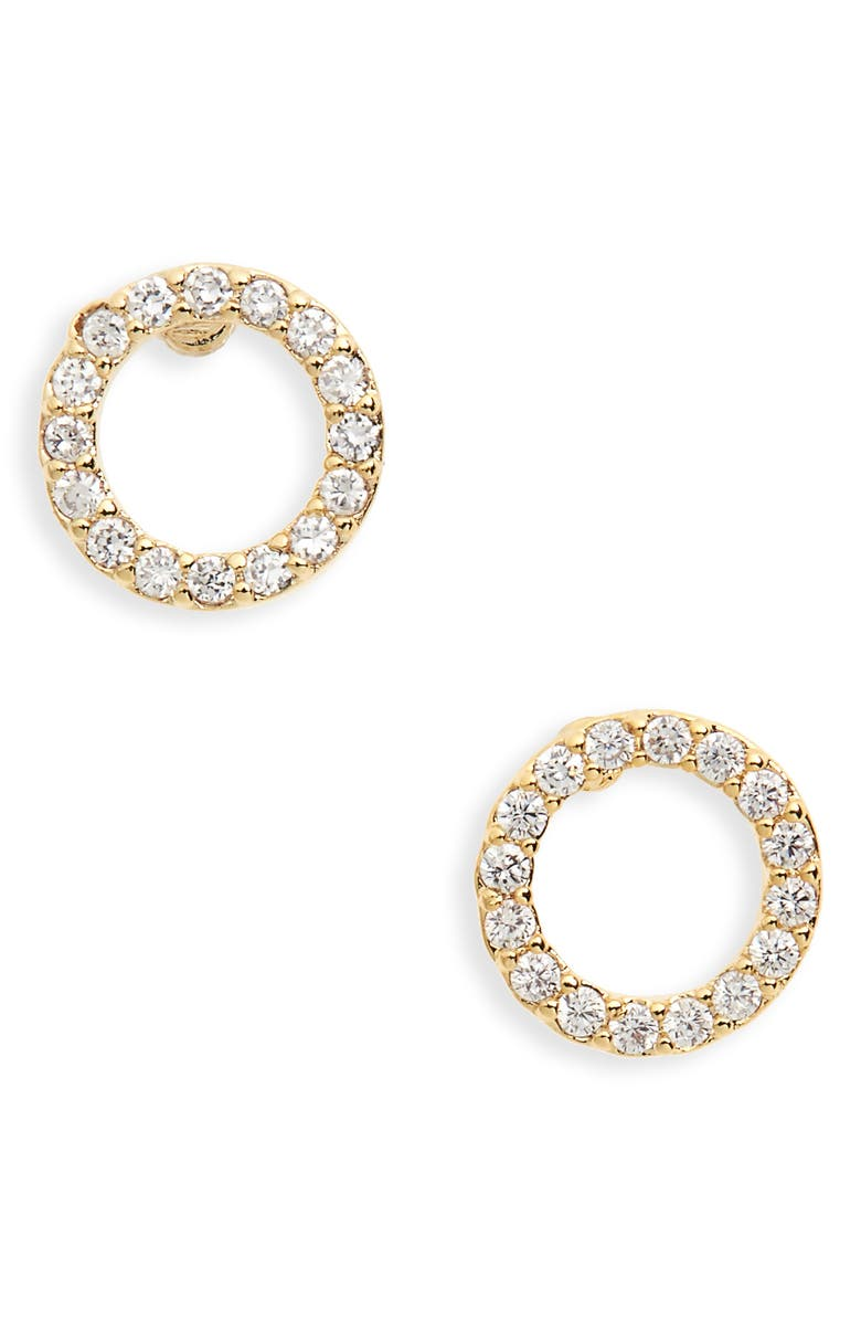 ESTELLA BARTLETT Cubic Zirconia Circle Earrings, Main, color, GOLD