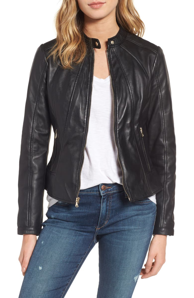 GUESS Collarless Leather Moto Jacket, Main, color, Black