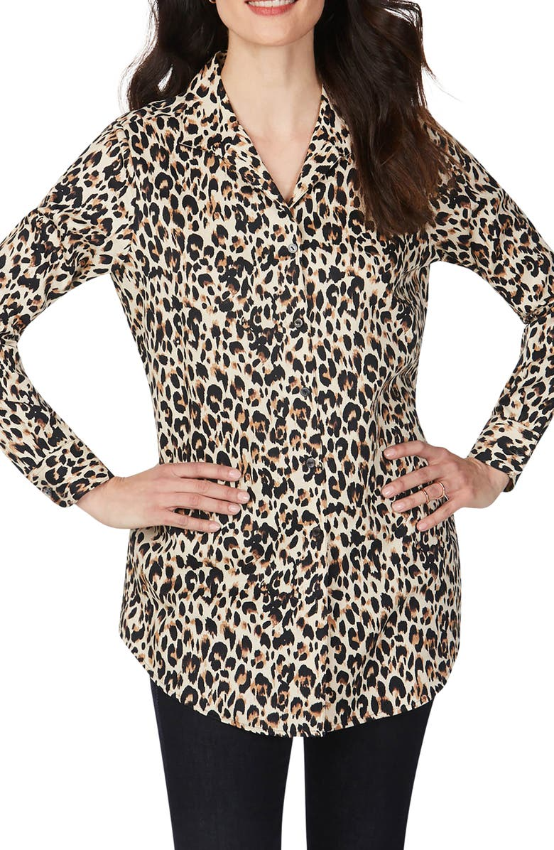 FOXCROFT Lucca Evening Leopard Wrinkle-Free Tunic Shirt, Main, color, 200