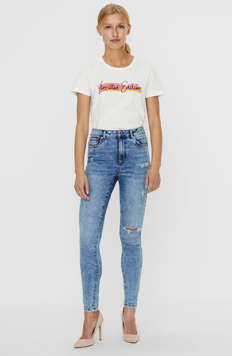 VERO MODA High Waist Ripped Skinny Jeans, Main, color, MEDIUM BLUE