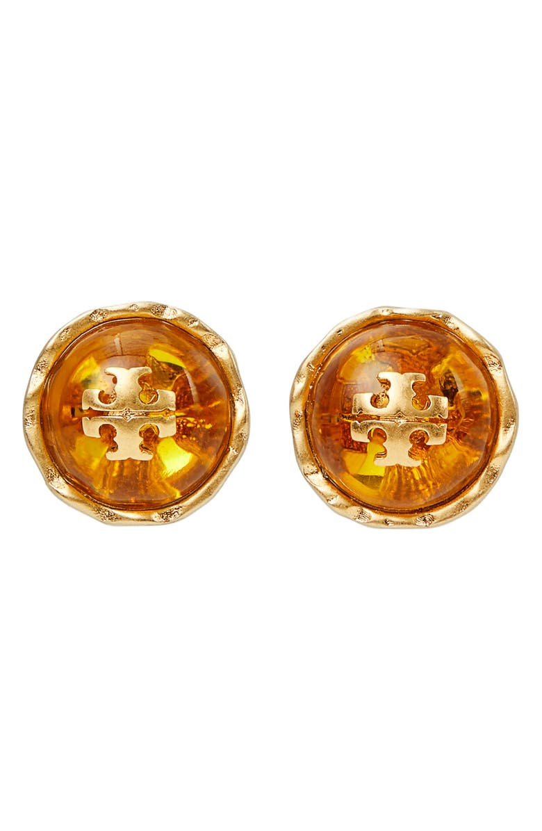 TORY BURCH Roxanne Stud Earrings, Main, color, ROLLED BRASS / YELLOW