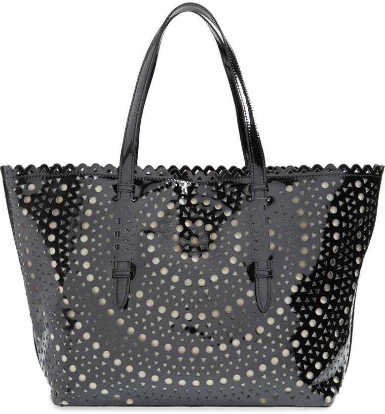 SONDRA ROBERTS Perforated Leather Tote, Main, color, Black