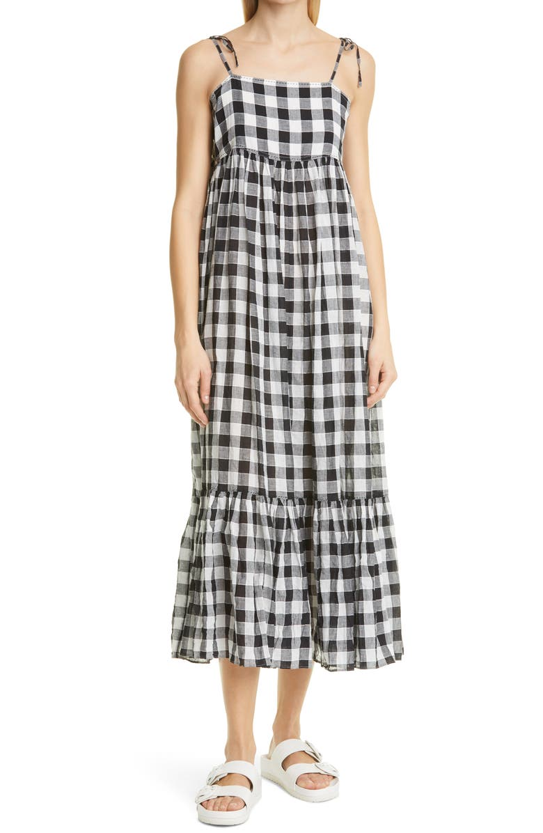 THE GREAT. The Dainty Gingham Linen & Cotton Sundress, Main, color, BLACK CREAM GINGHAM