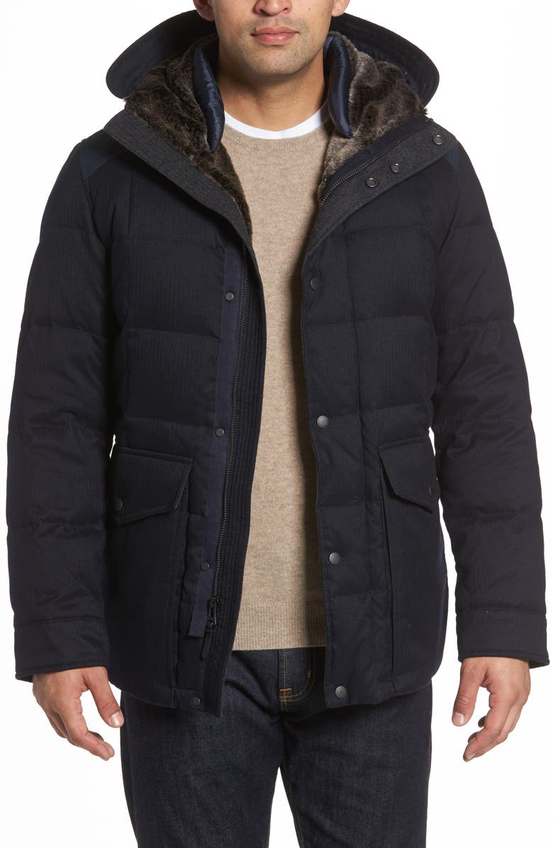 COLE HAAN Faux Fur Trim Mixed Media Hooded Down Jacket, Main, color, NAVY