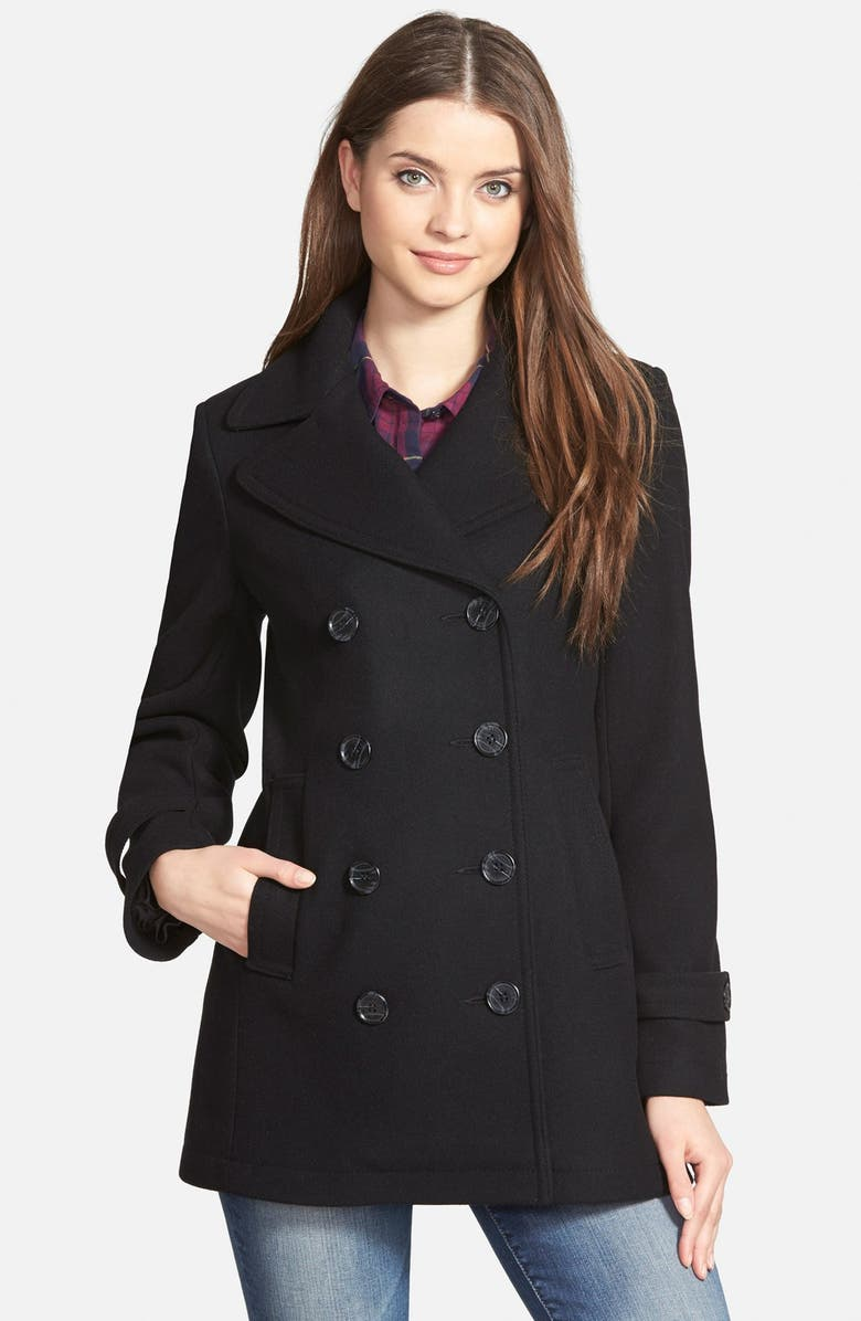 KRISTEN BLAKE Wool Blend Peacoat, Main, color, 001