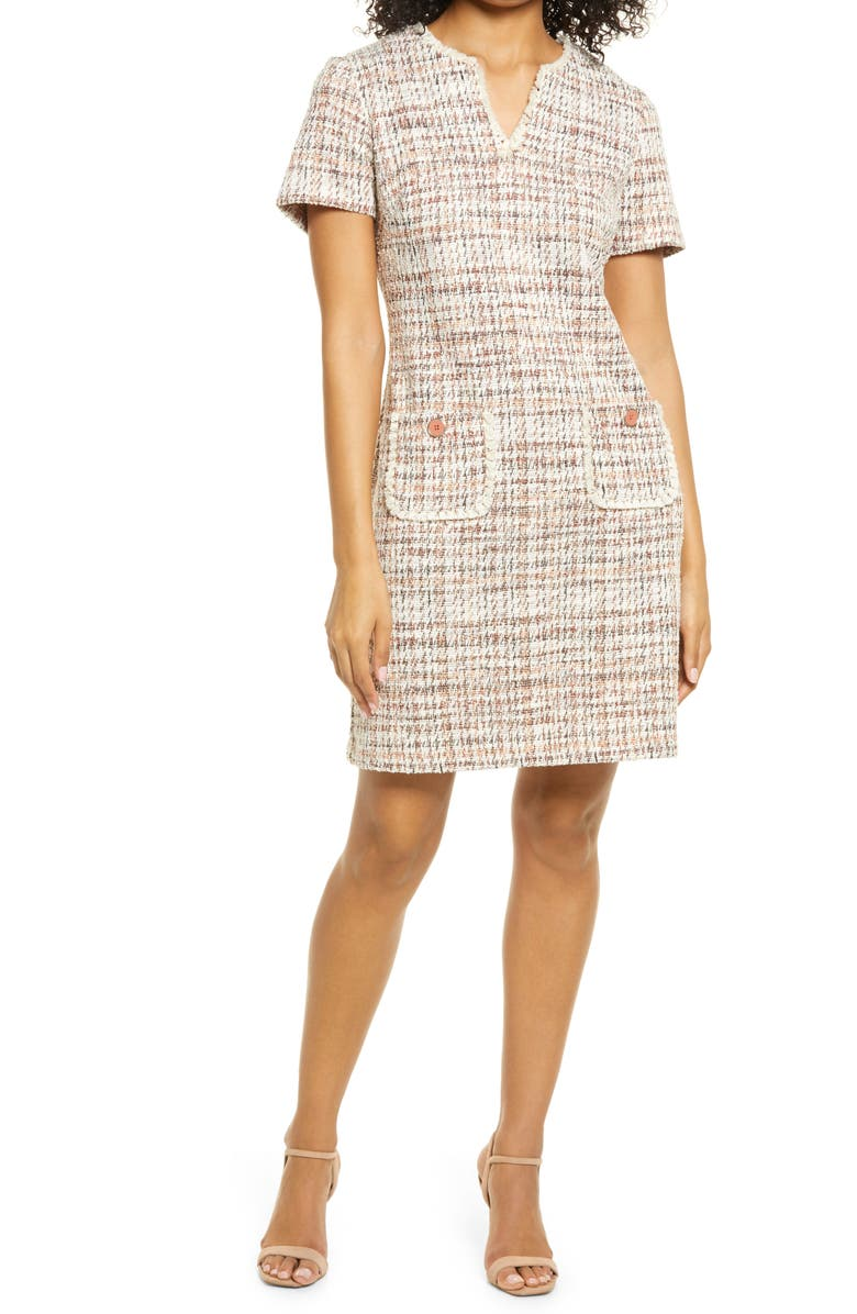 CONNECTED APPAREL Tweed Pocket Detail Dress, Main, color, TERRACOTTA