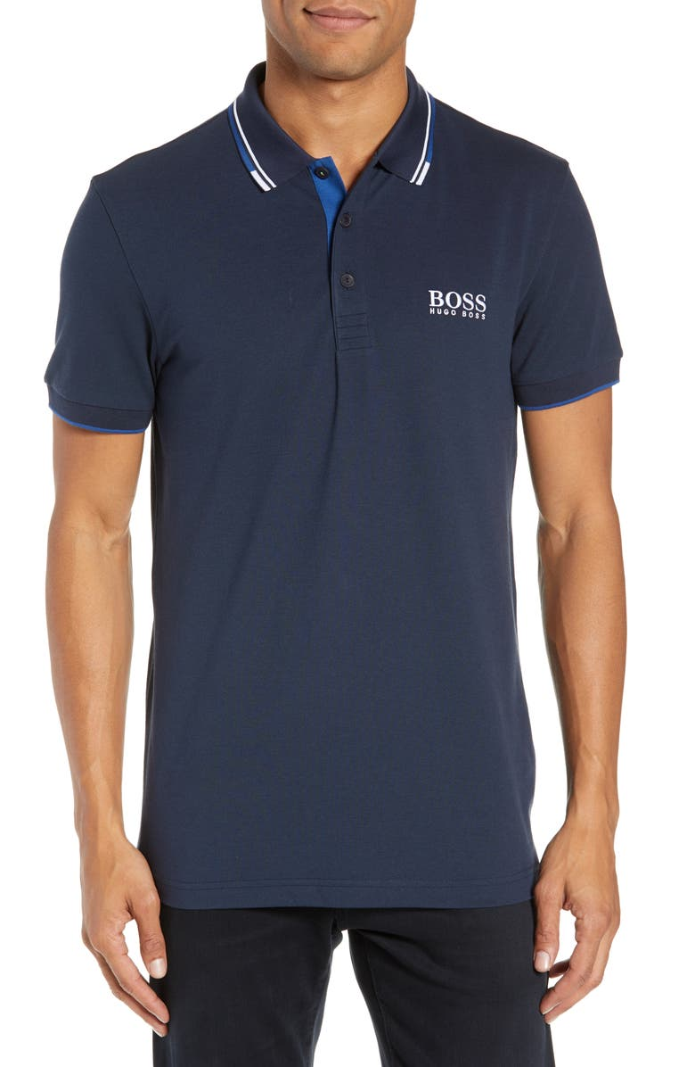 BOSS Paddy Regular Fit Polo, Main, color, NAVY