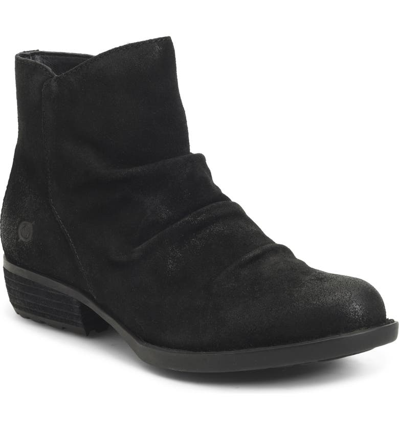 BØRN Falco Ruched Bootie, Main, color, BLACK DISTRESSED SUEDE