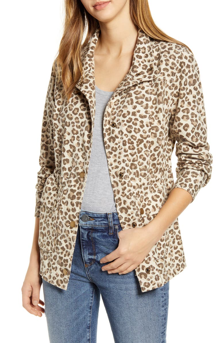 CASLON<SUP>®</SUP> Cinch Waist Linen Blend Utility Jacket, Main, color, BEIGE OYSTER LEOPARD DISTRESS