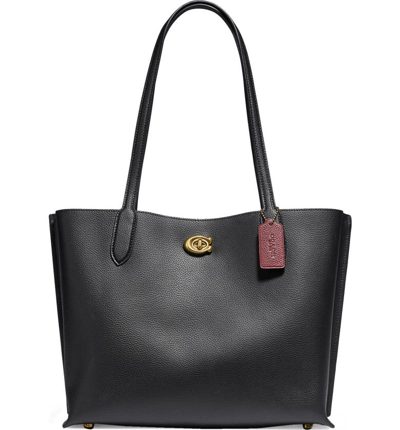 COACH Willow Leather Tote, Main, color, BRASS/ BLACK